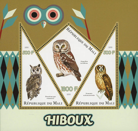 Mali Owl Bird Aegolius Acadicus Souvenir Sheet of 3 Stamps Mint NH