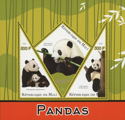 Giant Panda Bear Ailuropoda Melanoleuca Souvenir Sheet of 3 Stamps Mint NH