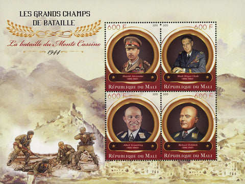 Great Battles Monte Cassino Souvenir Sheet of 4 Stamps Mint NH