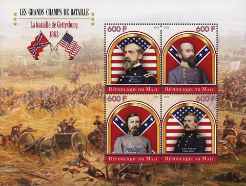 Great Battles Gettysburg Souvenir Sheet of 4 Stamps Mint NH