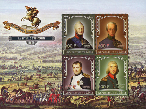Great Champions of Battles Austerlitz Souvenir Sheet of 4 Stamps Mint NH