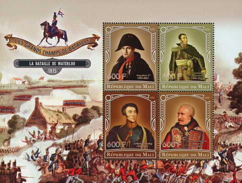 Great Champions of Battles Waterloo Souvenir Sheet of 4 Stamps Mint NH