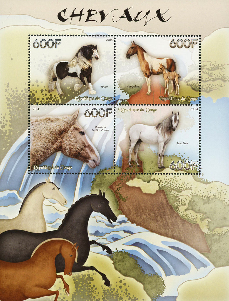 Congo Horse Tinker Paso Fino Souvenir Sheet of 4 Stamps Mint NH