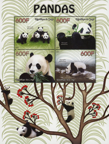 Congo Giant Panda Bear Souvenir Sheet of 4 Stamps Mint NH