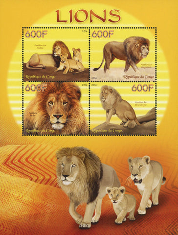 Congo Panthera Leo Nubica Lion Souvenir Sheet of 4 Stamps Mint NH