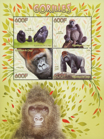 Congo Gorilla Beringei Wild Animal Souvenir Sheet of 4 Stamps Mint NH
