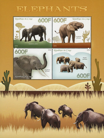 Congo Elephant Loxodonta Cyclotis Souvenir Sheet of 4 Stamps Mint NH
