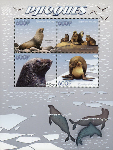 Congo Seal Pinnipeds Marine Fauna Souvenir Sheet of 4 Stamps Mint NH