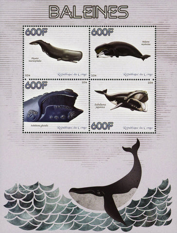 Congo Whale Marine Fauna Souvenir Sheet of 4 Stamps Mint NH
