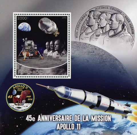 Congo Apollo 11 Space Neil Amstrong Souvenir Sheet Mint NH