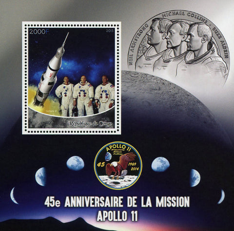 Congo Apollo 11 Space Saturn V Astronaut Souvenir Sheet Mint NH