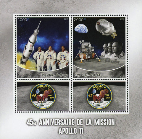 Congo Apollo 11 Space Saturn V Astronaut Souvenir Sheet of 2 Stamps Mint NH