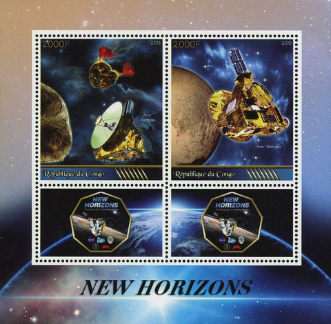 Congo New Horizons Space Satellite Souvenir Sheet of 2 Stamps Mint NH