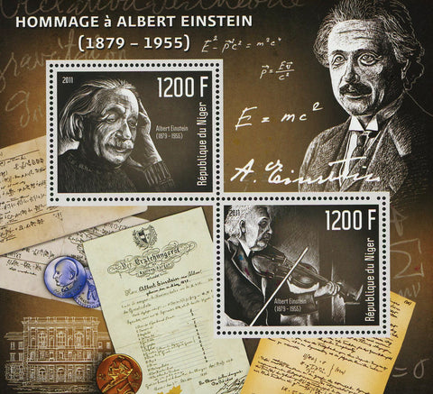 Nigeria Albert Einstein Historical Figure Souvenir Sheet of 2 Stamps Mint NH