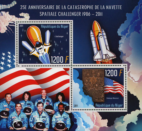 Nigeria Challenger Spaceship Astronaut Souvenir Sheet of 2 Stamps Mint NH