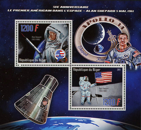Nigeria Allan Shepard USA Astronaut Souvenir Sheet of 2 Stamps Mint NH