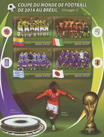 Madagascar Soccer Cup Brazil Didier Drogba Sport Sov. Sheet of 4 Stamps MNH