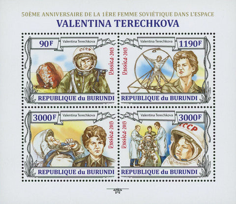 Valentina Tereshkova Woman Space Sov. Sheet of 4 Stamps MNH