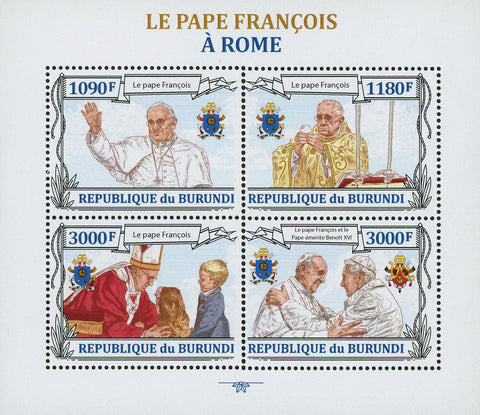 Pope Francis Rome Catholic Souvenir Sheet of 4 Stamps Mint NH