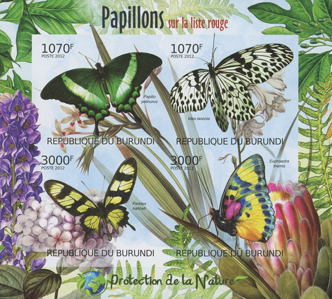 Butterflies Insect Trees Plants Imperforated Sheet of 4 Stamps MNH