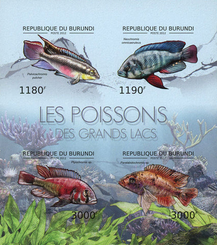 Big Lakes Fish Imperforated Souvenir Sheet of 4 Stamps MNH