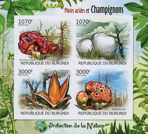 Acid Rain and Mushroom Fungi Imp. Souvenir Sheet of 4 MNH