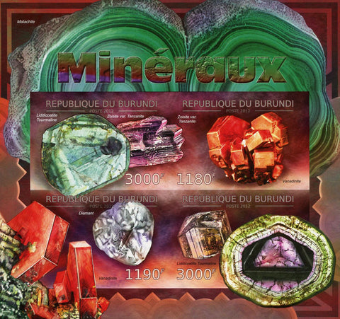 Mineral Aquamarine Imperforated Souvenir Sheet of 4 MNH