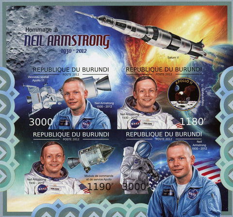 Neil Amstrong Astronaut Space Souvenir Sheet of 4 MNH