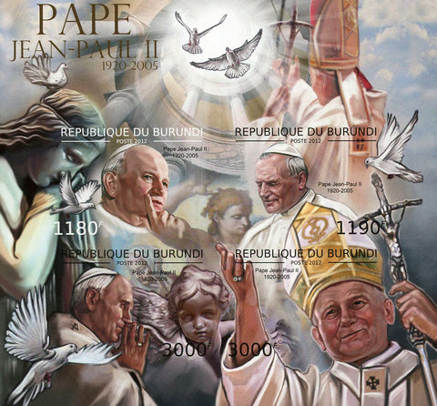 Pope John Paul II 1920-2005 Souvenir Sheet of 4 MNH