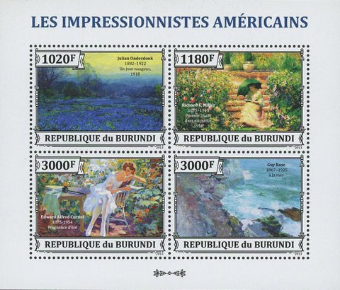 American Impressionists Painters Art S/S of 4 Stamps MNH