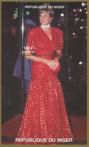 Princess Diana Royal Family Red Gown Souvenir Sheet MNH