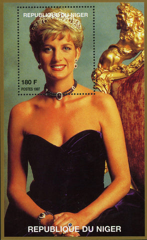 Princess Diana Royal Family Purple Dress Sitting Souvenir Sheet MNH