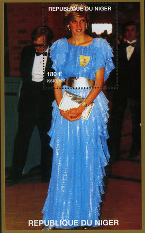 Princess Diana Royal Family Blue Gown Dress Souvenir Sheet MNH