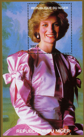 Princess Diana Royal Family Pink Silk Dress Souvenir Sheet MNH