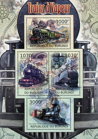 Steam Trains Transportation Souvenir Sheet of 4 Stamps MNH