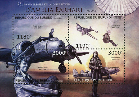 Amelia Earhart Airplanes Pilot Souvenir Sheet of 4 Stamps MNH