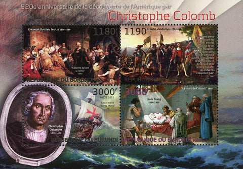 Christopher Columbus Historical Figure Sov. Sheet of 4 Stamps MNH
