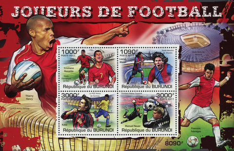 Soccer Sport Lionel Messi Cristiano Ronaldo Sov. Sheet of 4 Stamps MNH