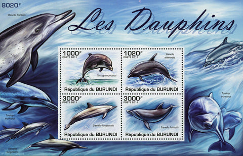Dolphin Marine Fauna Ocean Souvenir Sheet of 4 Stamps Mint NH