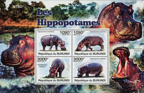 Hippopotamus Wildlife Animals Fauna Sov. Sheet of 4 MNH