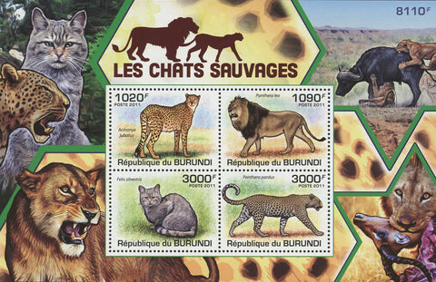 Wild Cat Fauna Lion Panther Souvenir Sheet of 4 Stamps Mint NH