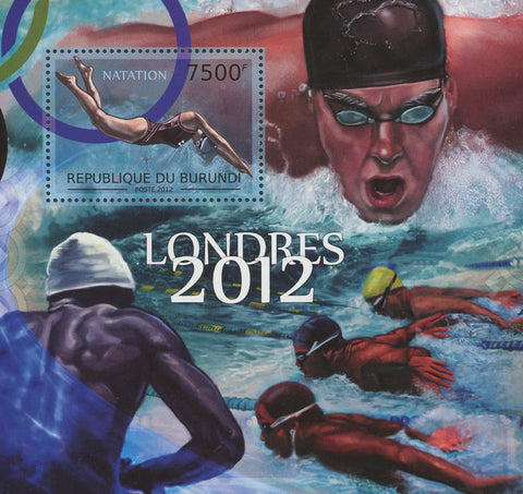 Swimming Sports Olympics Natation London 2012 Souvenir Sheet MNH