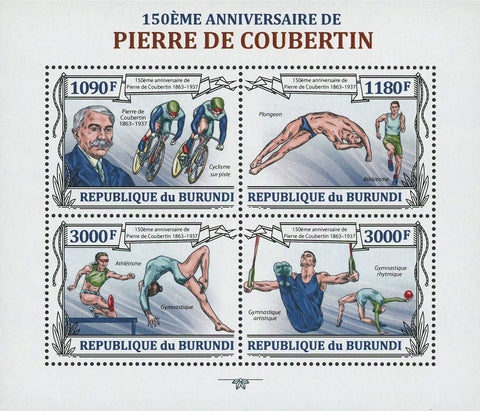 Pierre de Coubertin Olympics Famous People Souvenir Sheet of 4 Stamps MNH