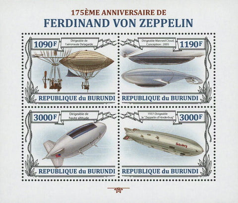 Dirigibles Zeppelin Ferdinand Adolf Airship Souvenir Sheet of 4 MNH