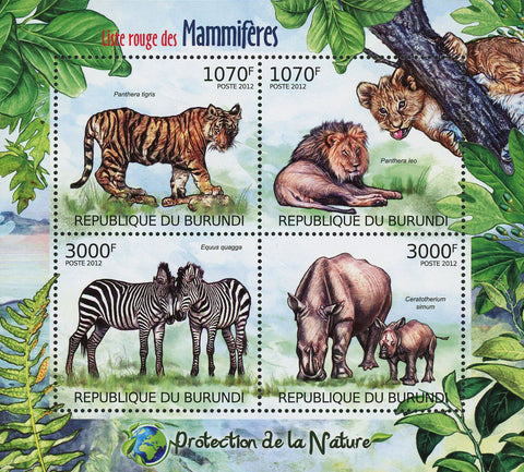 Nature Protection Mammals Lion Sov. Sheet of 4 Stamps MNH