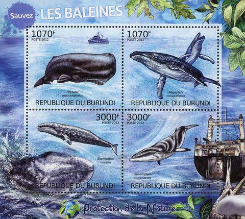 Whale Cetacean Ocean Life Sov. Sheet of 4 Stamps MNH
