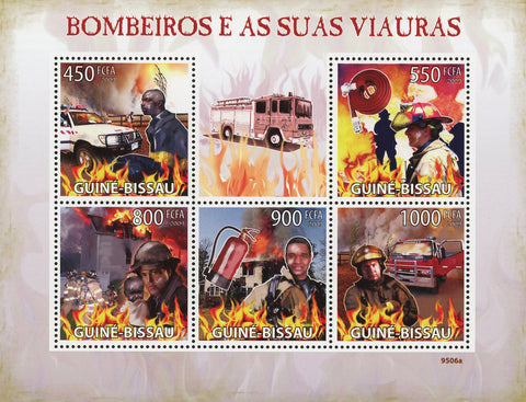 Firefighter Fireman Truck Souvenir Sheet of 5 Stamps Mint NH