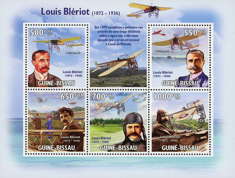 Louis Blériot Aviator Famous People Souvenir Sheet of 5 Stamps Mint NH