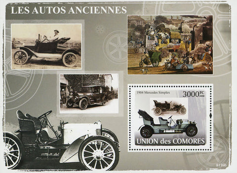 Antique Car 1904 Mercedes Simplex Transportation Souvenir Sheet MNH