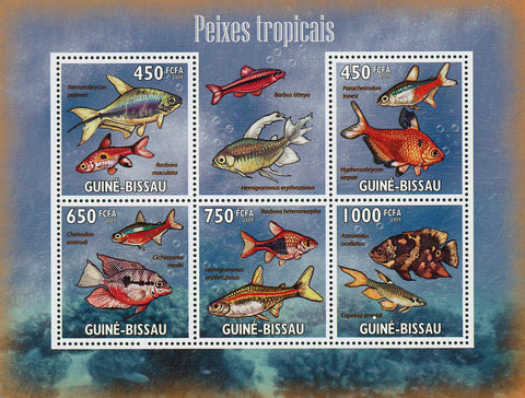 Tropical Fish Ocean Bubble Marine Fauna Souvenir Sheet of 5 Stamps MNH